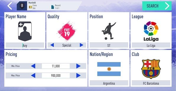 Screenshot Draft Simulator for FUT 19